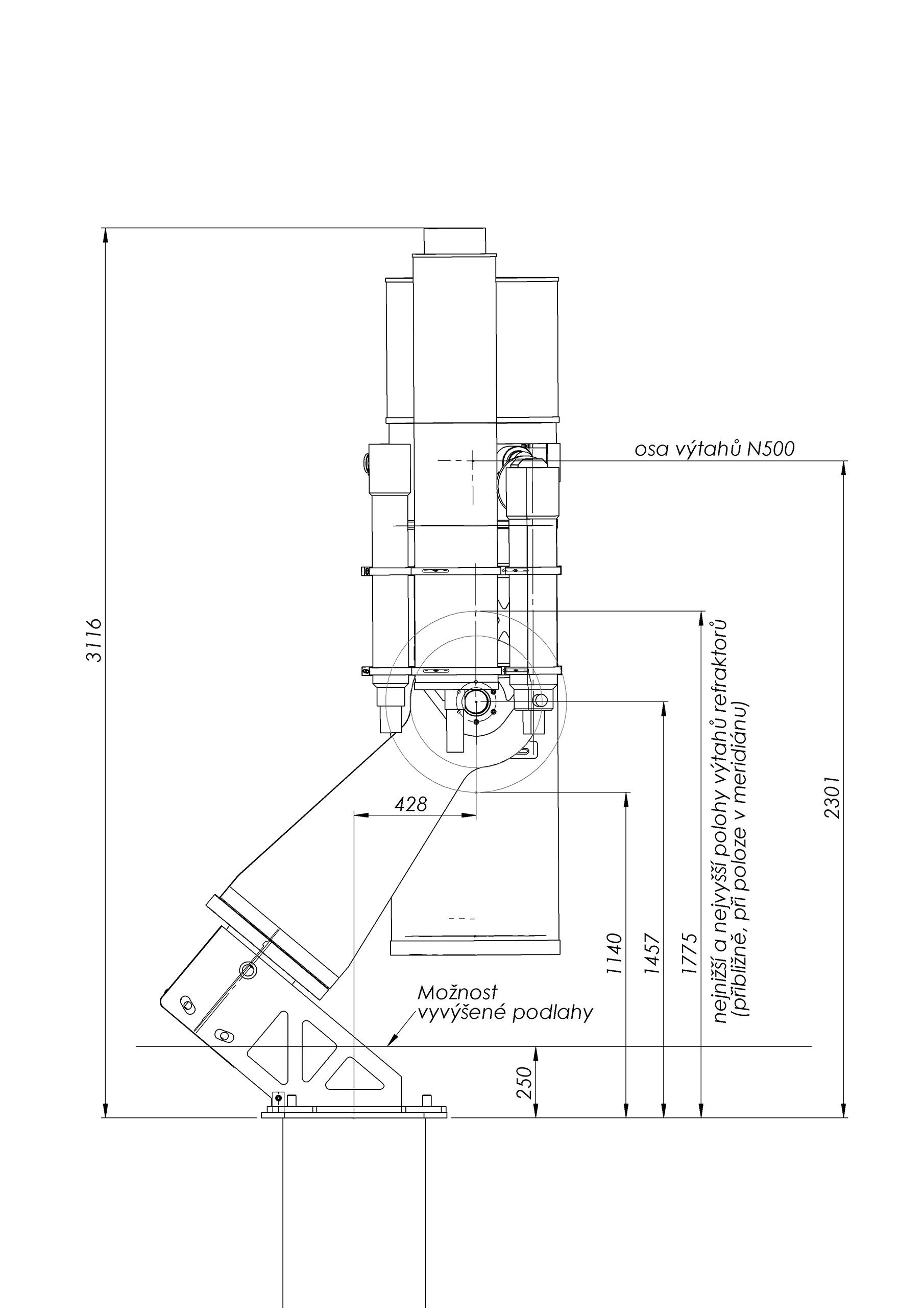 rozměry montáže a polohy výtahů